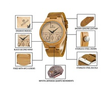 Hot sell bamboo wood sport smart men wrist pocket fitness watch for couple china supplier