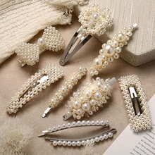 H1001 New design Fashion Metal silver bridal hairpin pearl flower hair clips for fancy girls Women hair accessories