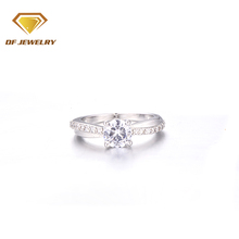 DengFeng jewelry 6.0mm aaaaa zirconia gemstone setting environmental brass finger ring