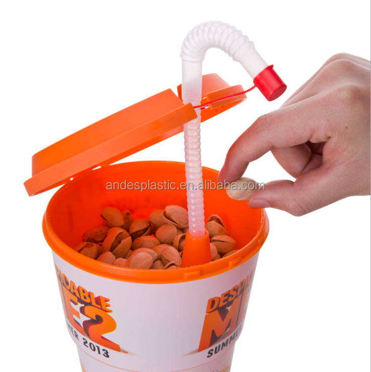 Plastic popcorn bowl with drinking bottle and sweet straw