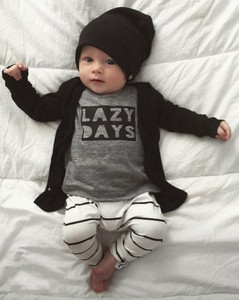 Wholesale LAZY DAYS 2 Pieces Baby Boys Clothes Set Baby Clothes