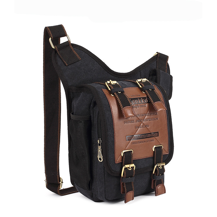 Mens Boys Vintage Canvas Shoulder Military Messenger Bag Sling School Bags Chest Military Leather Patchwork Messenger Bag(Khaki)