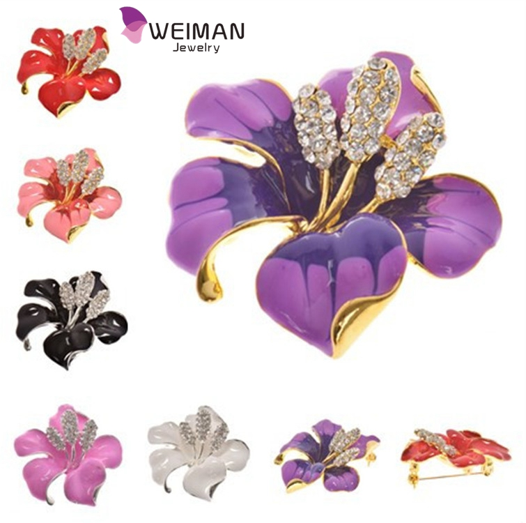 2016 new arrival gift enamel Lily flower brooch for women many colors available