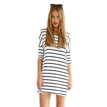 Cross border for Amazon eBay new European and American women's big code T-shirt loose long sleeved stripes stitching dress