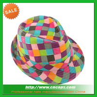 Custom kids plaid fedora hat with coloful check printing