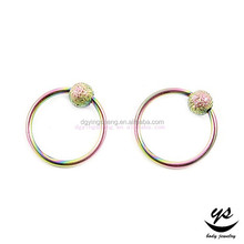 316L stainless steel artificial earring BCR captive nose rings piercing