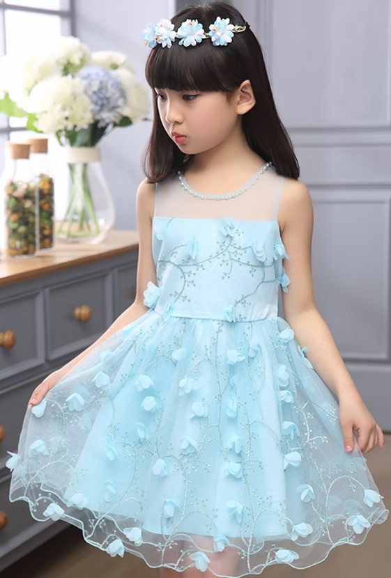 New arrival fashion frock design summer dress 2017 kids wear girls party dresses