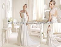 LSW-309 Fancy beaded lace open back cap sleeve tailored wedding dress Italian