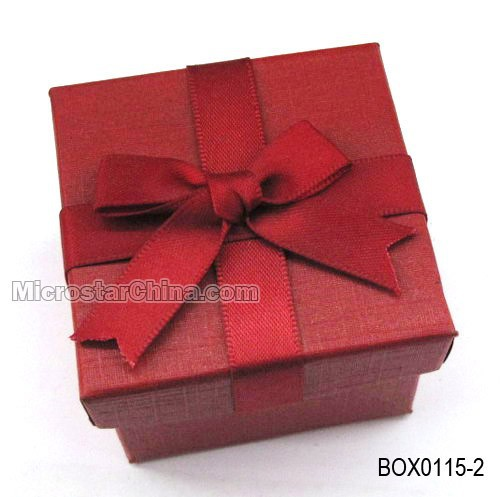 5*5*3.8cm Cheap beautiful bow red box paper jewlery box