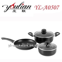 5pcs Aluminum nonstick kitchenware tools Cookware Sets with induction base bottom