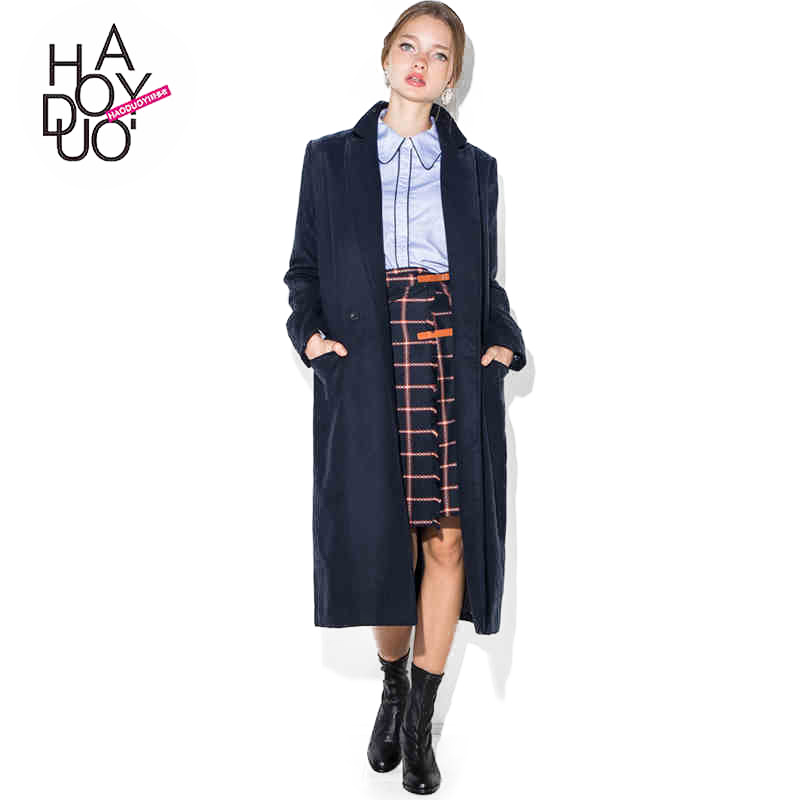 Haoduoyi <strong>Navy</strong> style Double breasted Outwear Coats Slim Wool Blens women Trench for wholesale