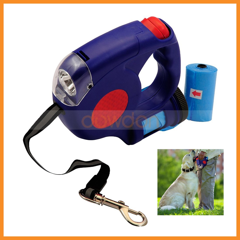 LED Flashing Pet Dog Leash Lead Light Retractable with Flashlight