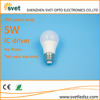 Energy saving IC driver plastic 5W led lamp bulb