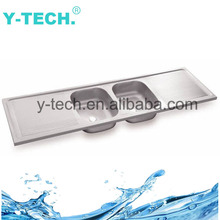 YK-1850 Stainless Steel Double Bowl Pressed Kitchen Sink With Draining Board