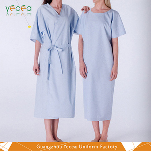 Unisex patient gown soft 100%conton breathable quick dry hospital uniforms wholesale customize logo