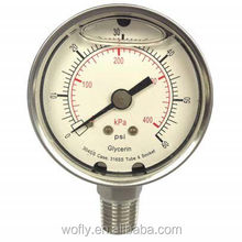 stainless steel mbar low pressure gauge