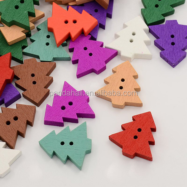 Multicolor 2-Hole Dyed Christmas Tree Wood Sewing Buttons