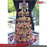 Round 4,5,6 tier acrylic cupcake stands,acrylic cake display riser holder