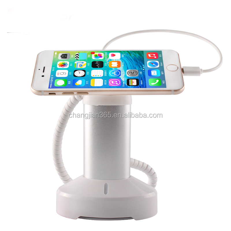 Mobile Cell phone model showing stand anti-theft security display stand holder with spring cable and sensor cable