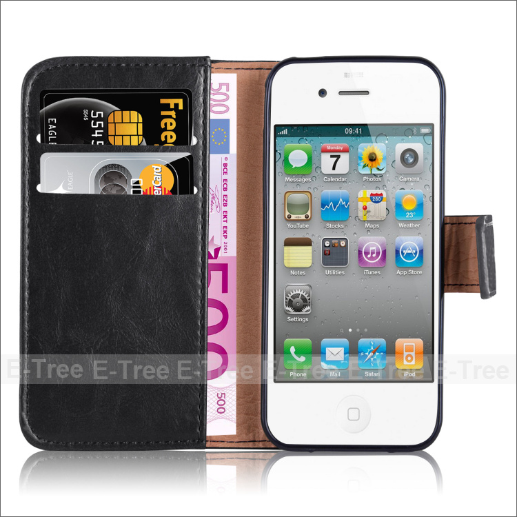 Premium crazy horse leather wallet flip folio folding stand high quality PU leather case cover with card holders for iphone 4
