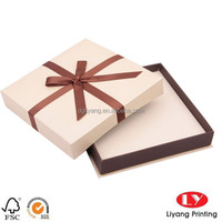 Decorative lid and base cardboard jewelry box with ribbon and paper card inner pad China Manufacture