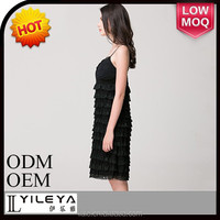 Best selling black knitted taffeta dress for ladies