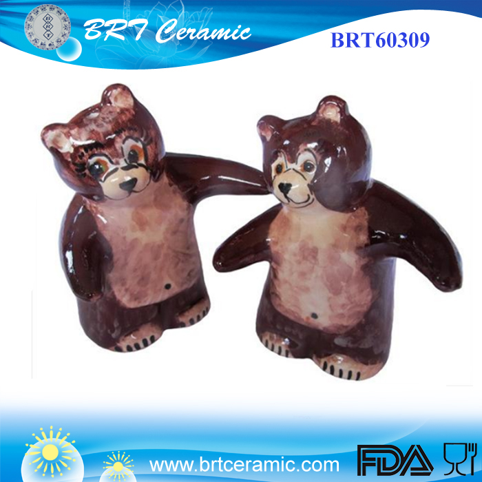 Hand Painted Brown Salt Pepper Shaker Set Brown Bears