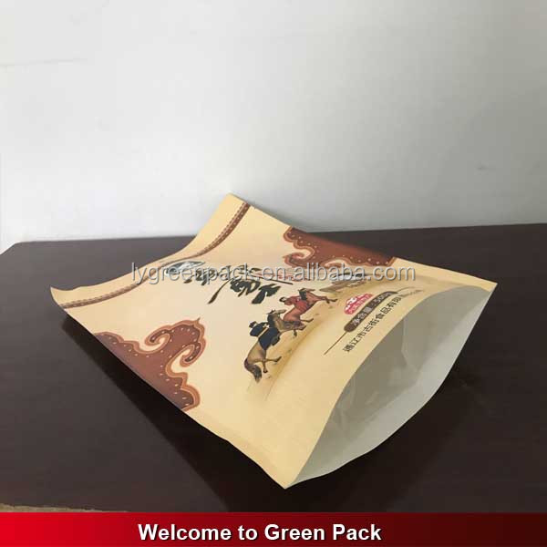 Food Grade custom size resealable paper stand up beef jerky packaging bags for packing 100g 250g 500g