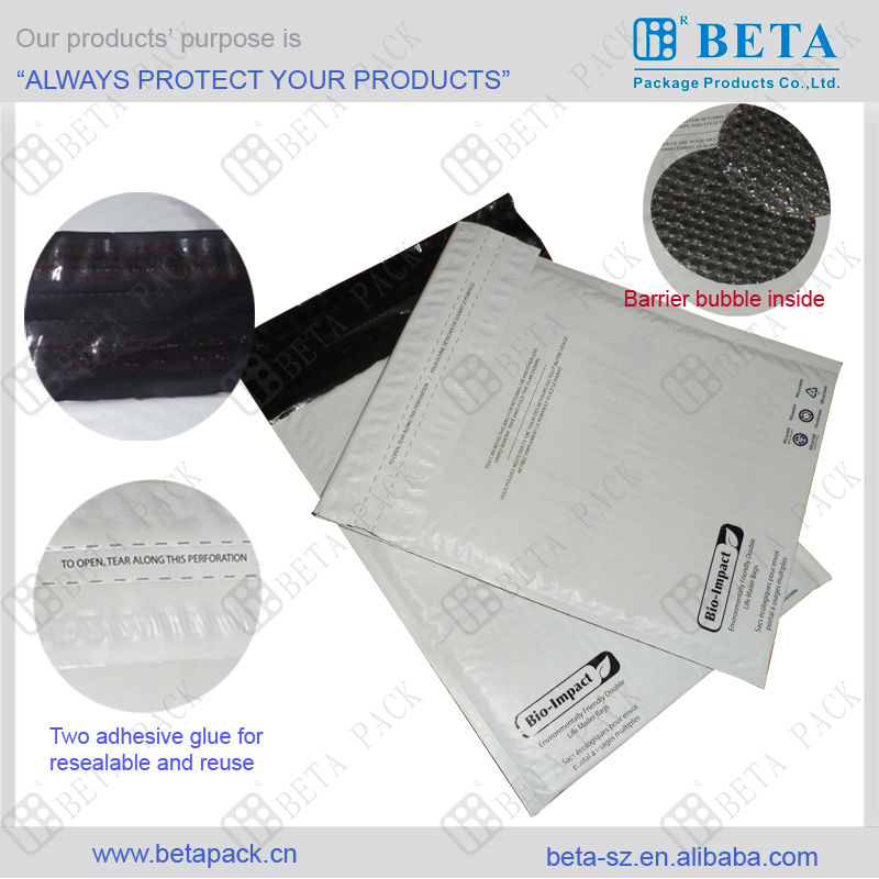 Waterproof envelope with bubble padded