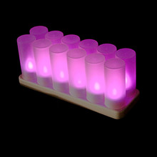 Led rechargeable commerical sensitive frosted indoor decorative tea cup purple color grave electric candle light