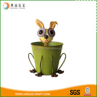 2016 metal planter pot with rabbit face for garden decoration