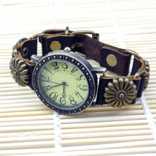 Wholesale low price vintage genuine leather bracelet watch for men