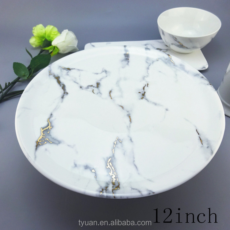 The Best And Cheapest gold marble decal porcelain plate dish