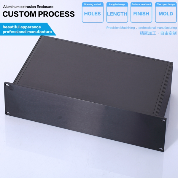 YGH-002-3 black 2 U Aluminium Extrusion case 482*88.9*250mm with mounting lugs / amplifier enclosure/ 19 Inch Rack Mount Chassis