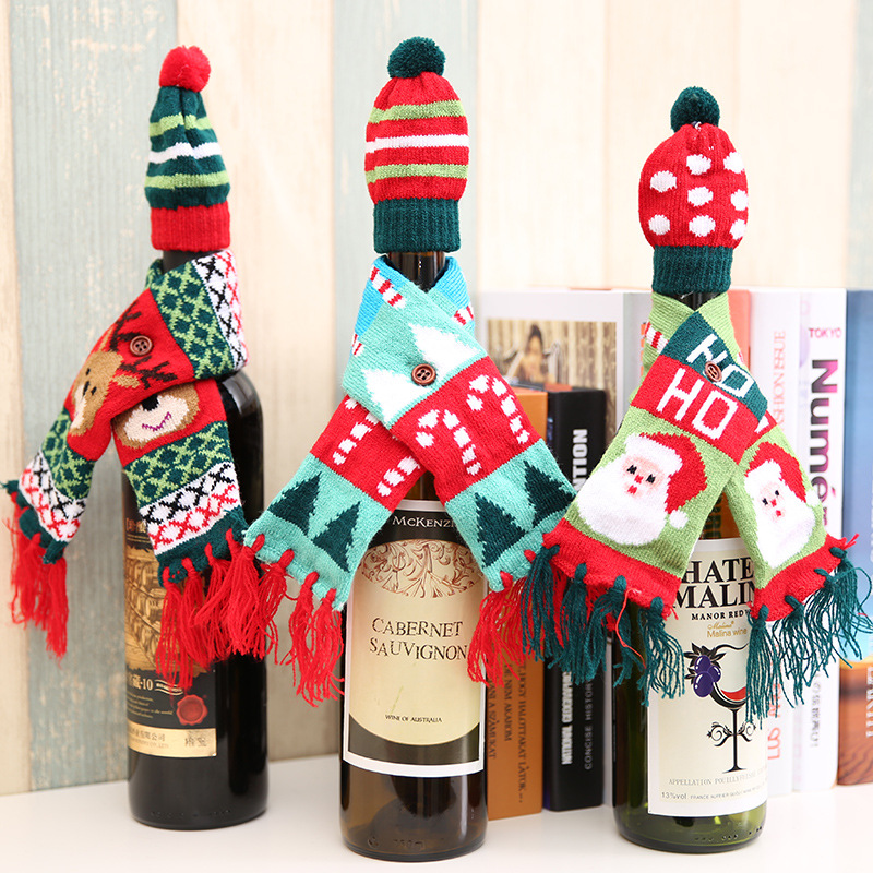 O'YUE- Christmas Decoration knitted Sweater Wine Bottle Covers funny Christmas scarf and hat NO.20171244