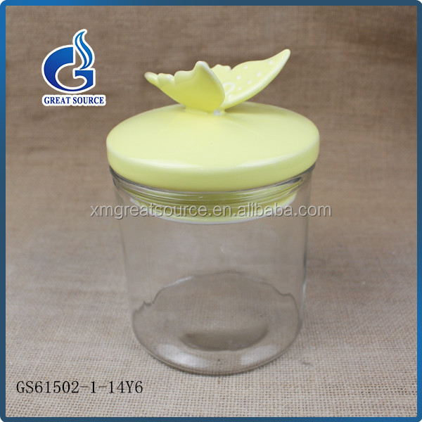 handmade butterfly decorative ceramic lids hermetic glass candy storage jar