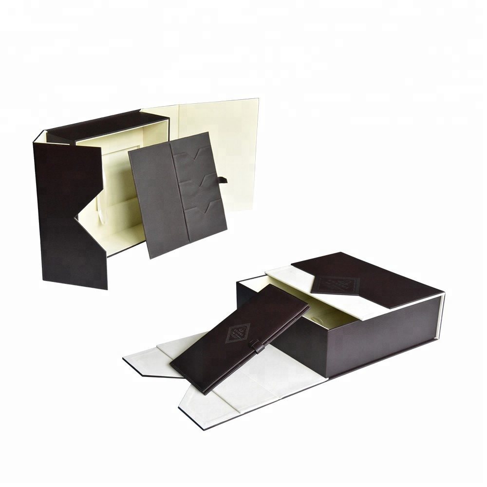 Manufacturer wholesale custom double door luxurious leather gift box  with magnetic clasps