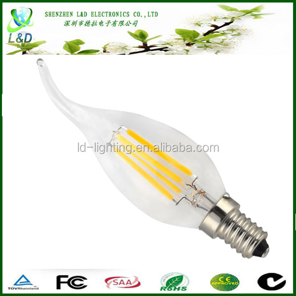 E14 candle LED lamp , dimmable cob 360 degree led bulb 3w led