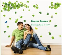 60*90CM DIY 3D Wall Sticker Mural Home Art Decor fresh green leaves plant tree TV Bedroom Living Room Decals Wallpaper Applique