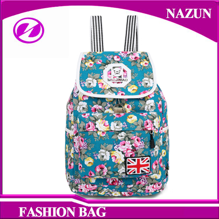 2016 New Vintage rose flower fashion Girl Canvas Bag Funny School Backpacks