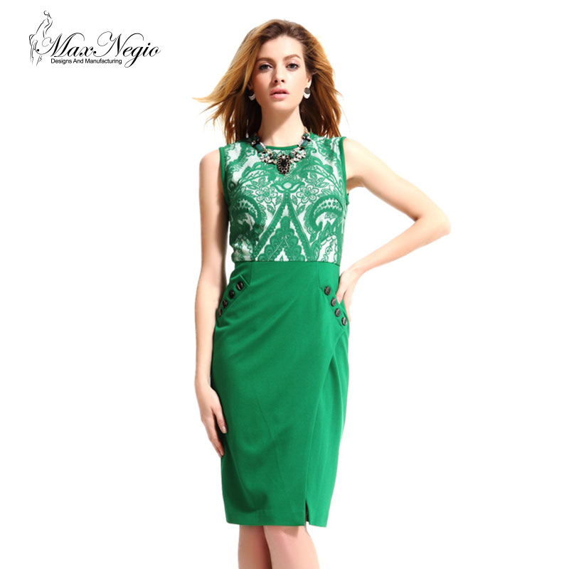 Maxnegio Women Fashion Formal Ladies Official Green Lace Knee Length Tube <strong>Dresses</strong>