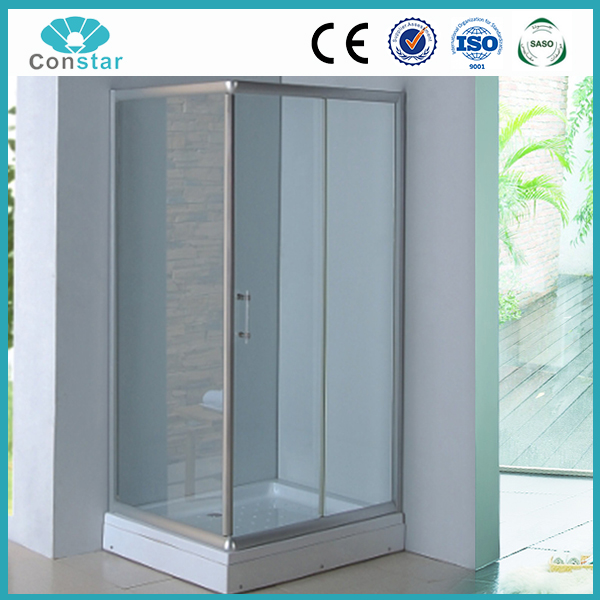 ISO9001 Frameless rectangle bath cabin tempered glass jinna walk in shower panels