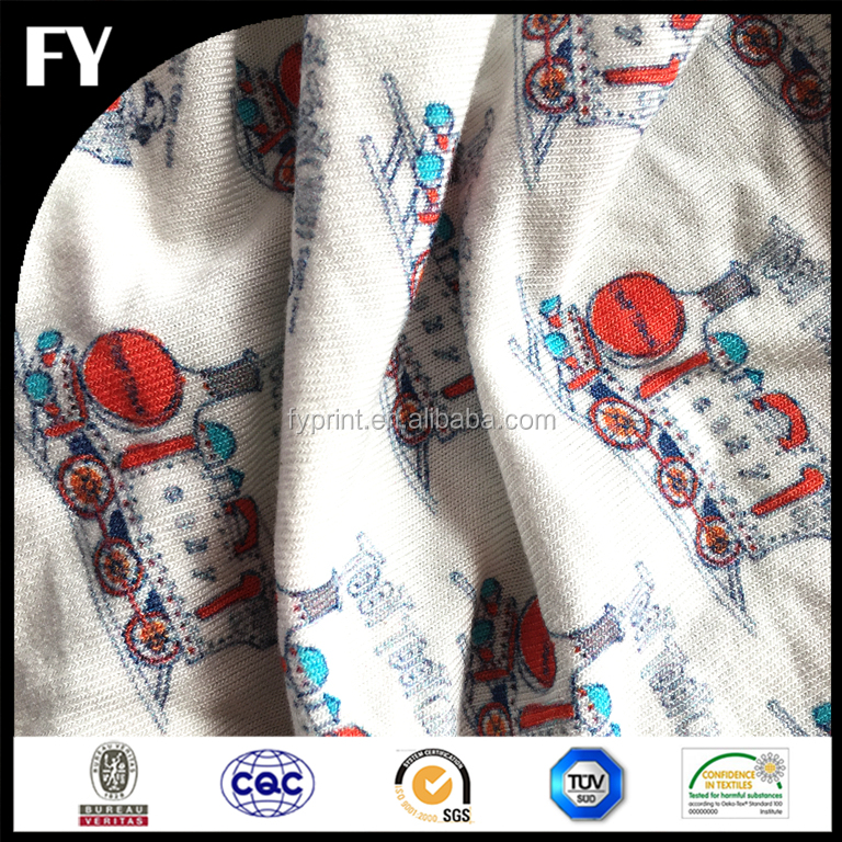 Combed cotton jersey fabric custom digital printed