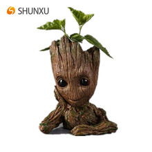 Baby Groot Garden Pot Light Brown Resin Flowerpot Plant Pot Decorations
