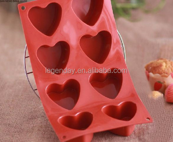 8 cavity heart shaped pudding molds cookies pans silicone cake molds