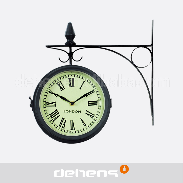DEHENG Iron Hanging Wall Clock for outdoor station