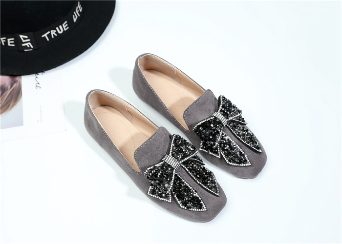 Women's Casual Bow Knot Round Toe Suede Low Heel Slip on Loafers Shoes