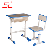 Height adjustable cheap school children desk and chair in school sets