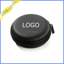 Hot selling PU cover EVA small black EVA earphone case/earbuds cases/headphone carry case