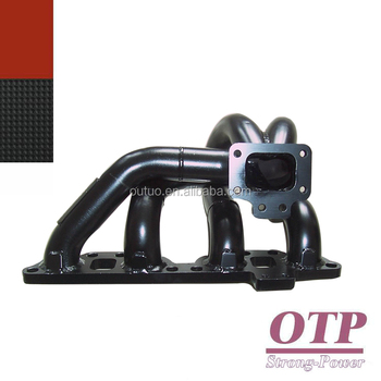 OTP 3mm thick black coating mild steel exhaust manifold for Niss**an SR20DET SR20 bottom mount